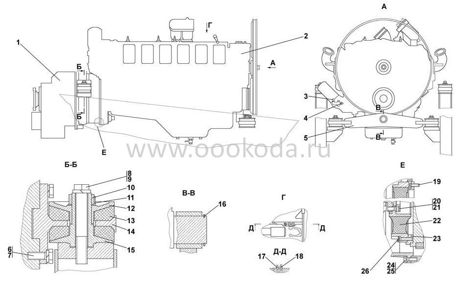 2502-01-1СП Установка двигателя ЯМЗ-8501.10